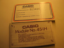 VINTAGE CASIO USER'S GUIDE MODULE NO. 451H