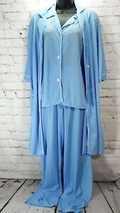 VTG 3 Piece Baby Blue Pajamas 100% Nylon Made In U.S.A.