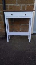 H80 W70 D25cm BESPOKE WHITE CONSOLE HALL TELEPHONE TABLE 2 DRAWER WALNUT TOP