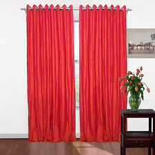 "Pair of Pure Silk Dupioni Drapes, 100"" W x 120"" L,Coral Color Eyelet with Lining"