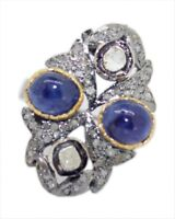 925 Sterling Silver Rose Cut Polki Victorian Style Diamond Natural Sapphire Ring