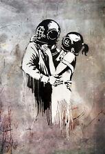 "BANKSY STREET ART *FRAMED* CANVAS PRINT Think Tank lovers 20x16"" stencil -"