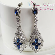 18K White Gold GF Made With warovski Crystal Hollow-out Flower Formal Earrings