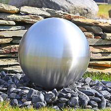 Edelstahl Brunnenkugel 38cm matt gebürstet für Gartenbrunnen mit LED Wasserspiel