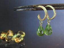 14k solid Yellow gold earrings with Peridot.14k handmade Dangle gold earrings.