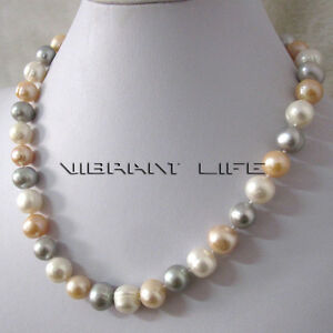 """18"""" 10-12mm White Peach Pink Gray Freshwater Pearl Necklace UE"""