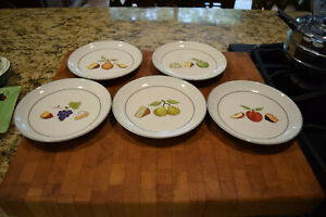 "5 Nancy Green Crate & Barrel ""Fruit Fromage"" Wine Cheese Appetizer Plates 6.5"""