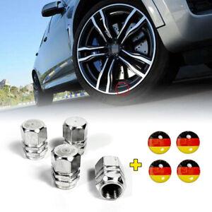 4PCS Wheel tire cap Silver Aluminium air valve stem Cover Germany Flag Sticker