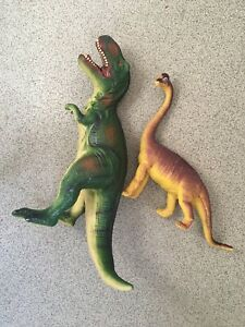 Dinosaur T-rex Figure Toy Soft Rubber Large Toy 30cm & Plastic Brachiosaurus