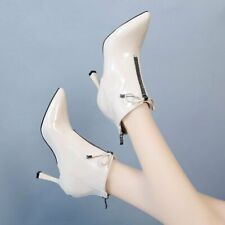 Womens Bow Knot Pointed Toe Ankle Riding Boots High Heel Stilettos Zip Shoes NEW
