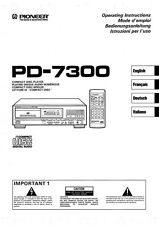 Pioneer PD-7300 CD Player Owners Manual
