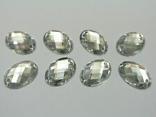100 Clear Flatback Acrylic Oval Sewing Rhinestone Button 13X18mm Sew on beads