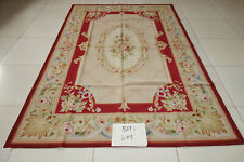 6'X9'Elegant Beautiful Viatorian Pink Rose Floral Burgandy Beige Aubusson Rug