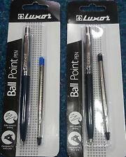 2 BRAND NEW LUXOR JOTTER BALLPEN 1 BLACK & 1 BLUE INK + EXTRA PARKER TYPE REFILL