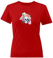 Watercolor Floral Skull Flowers Skeleton Bones Gift Juniors Women Tee T-Shirt