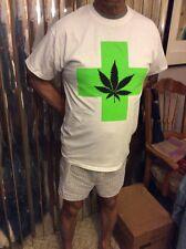 Men's White T Shirt With Green Cross And Marijuana Leaf (M)