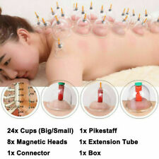 24Cups Chinese Vacuum Cupping Set Acupuncture Massage Body Pain Therapy Suction