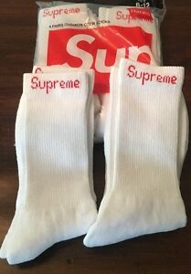 Supreme White With Red Supreme Label Socks (ONE PAIR SINGLES) 100%Authentic