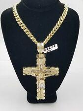 Real 10k Yellow Gold Men Jesus Cross Charm with Miami Cuban Chain in Diamond Cut