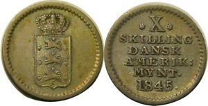 elf Danish West Indies 10 Skilling 1845 US Virgin Islands