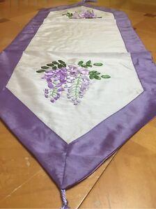 Wisteria Ribbon Embroidery White Satin Runner Dresser Runner Purple Border