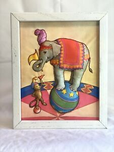 Circus Elephant WALL ART - Framed 3D Quilted Picture - TRAPUNTO - Vintage Décor