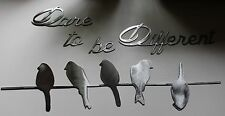 Dare to be different Silver Small Birds on a wire  Metal Wall Decor