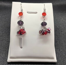 Handmade Red and Purple Sparkling Glass Beads Diamante Drop Dangle Earrings