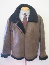 "Vintage B3 Real Shearling Sheepskin Bomber Aviator Leather Jacket M 40-42"""