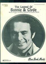 "MERLE HAGGARD ""THE LEGEND OF BONNIE & CLYDE"" P/V/GUITAR SHEET MUSIC 1968 RARE!"