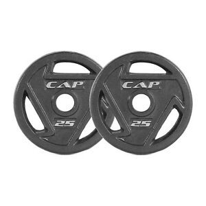 CAP Barbell Black 2-Inch Olympic Grip Plate, 25-Pounds, Pair