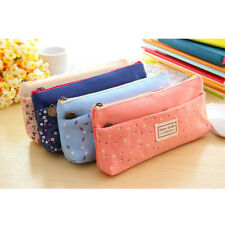 Girls Cute Floral Flower Fabric Pencil Case Stationery Cosmetic Make up Bag Light Blue