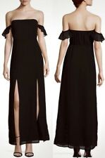 NEW Lucca Couture Black Off Shoulder Long Slit Maxi Dress - Size Small  $108