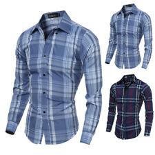 Mens Fashion Luxury Casual Slim Fit Stylish Plaid Dress Shirts Long sleeve Shirt