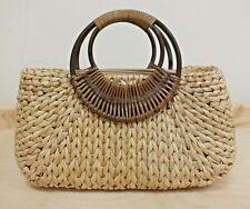 Alma Tonutti Straw Wicker Tote Handbag with Zip & Wooden Handles (Hol)