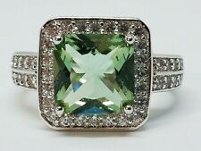 18K White Gold Over Brass Green Amethyst W/CZ Accents Princess-Cut Ring  Size 8
