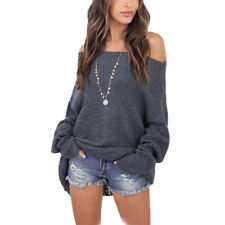 UK Womens Off The Shoulder Chunky Knit Jumper Ladies Baggy Sweater Top Oversize