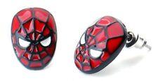 Spider-Man Face Enamel Filled Metal Stud Earrings
