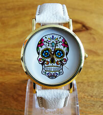 UK Seller SUPER Elegant Womens Stylish Skull Day Of The Dead Quartz Wrist Watch
