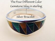 Inlay Sterling Silver Bracelet Classic Taxco 925 Four Different Colored Gemstone