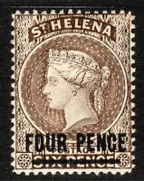 St Helena 1890 pale-brown 4d on 6d perf 14 Type B crown CA words16.5m mint SG43