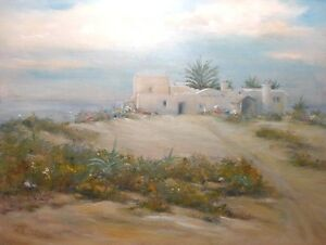 Dar Elbidha Tunisia 9x12 original oil painting - Celene Farris Africa desert spa