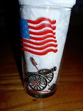 VINTAGE-COLLECTOR-PATRIOTIC- AMERICAN FLAG GLASS - W/ CANNON -FRANCIS SCOTT KEY