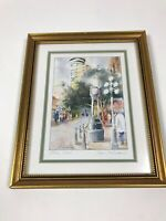 "Steam Clock Signed By Joyce Kamikura Art Print Matted Framed 11""x9"""