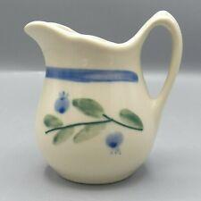 "Hartstone Blueberry Creamer Blue Green Band 4.5"" Zanesville Pottery Ohio Pitcher"