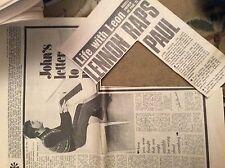 U1-7 ephemera 1971 original article john lennon writes to paul and linda folded
