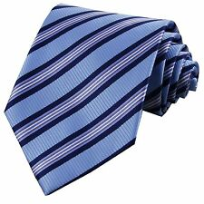 D.berite Blue Striped Silk Groom Jacquard Classic Woven Man's Tie Necktie F102