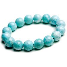 13mm Natural Rare Larimar Gemstone Stretch Round Beads Bracelet AAAA