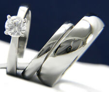 Engagement Ring Womens Stainless Steel Bridal Mens Wedding Band Set