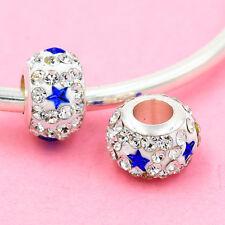 2p Gorgeous Czech Crystals Round Bead fit 925s European Charm Bracelet Chain